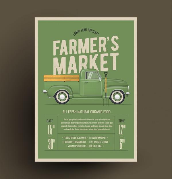 Modelo de convite do cartaz de panfleto de mercado do agricultor. baseado na caminhonete do fazendeiro do estilo antigo. ilustração. Vetor Premium