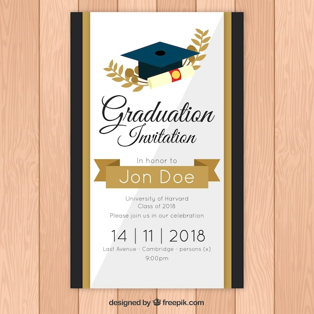 Modelo de convite elegante graduação com estilo dourado Vetor grátis