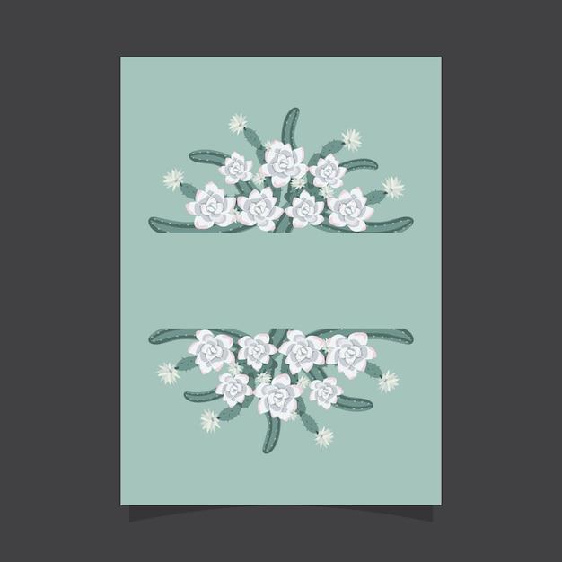 Modelo de convite floral com flores cactos e suculentas Vetor Premium