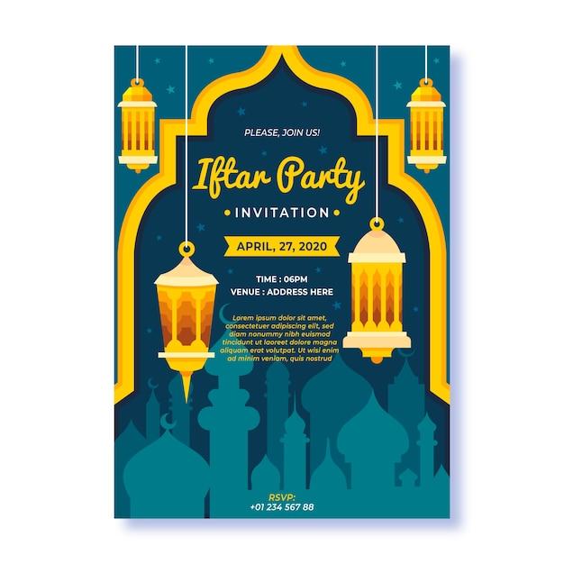 Modelo de convite iftar design plano Vetor grátis