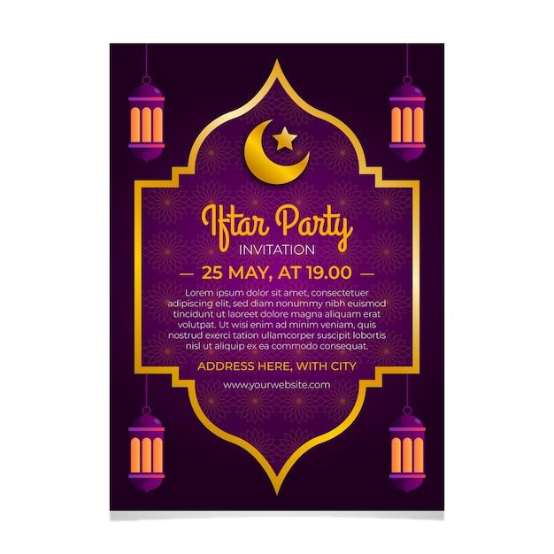 Modelo de convite iftar plana com lua crescente Vetor grátis