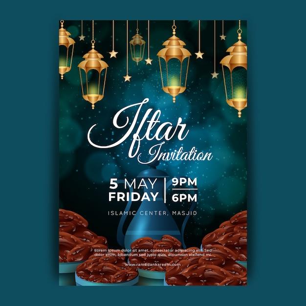 Modelo de convite iftar realista Vetor grátis