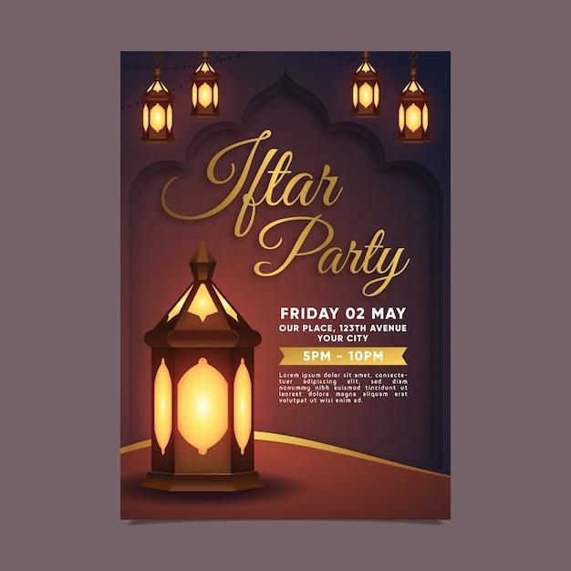 Modelo de convite iftar realista Vetor Premium