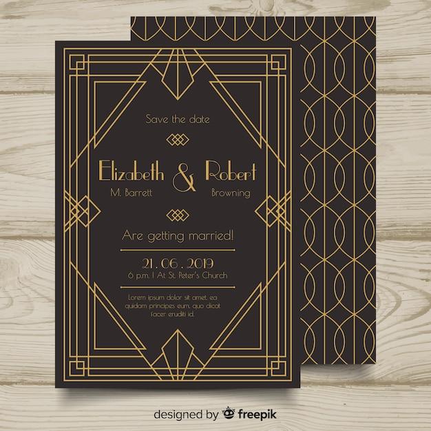 Modelo de convite lindo casamento elegante em estilo art deco Vetor grátis
