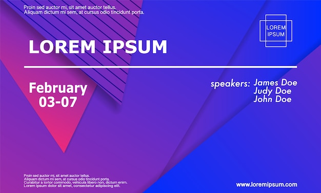 Modelo de convite para conferência, layout do folheto. fundo geométrico ilustração. Vetor Premium