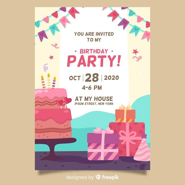 Modelo de convite para festa de feliz aniversário Vetor grátis