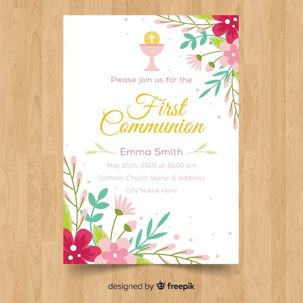 Modelo De Convite Primeira Comunhão Floral Baixar Vetores