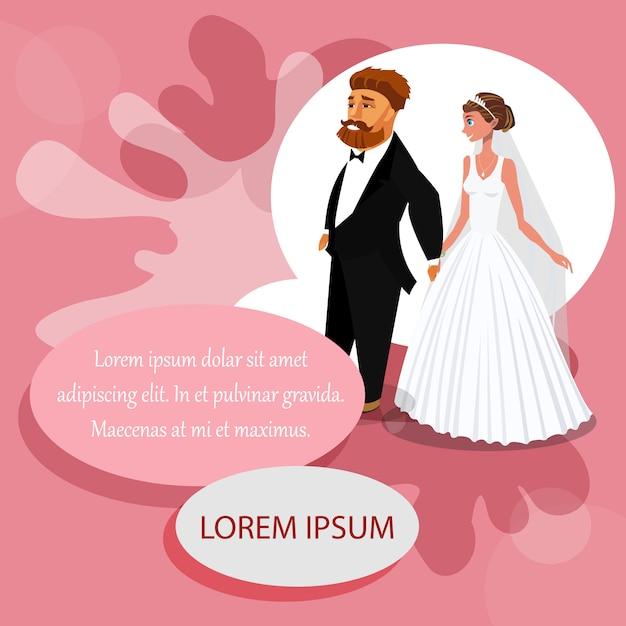 Modelo de cor de convite de casamento com espaço de texto. Vetor Premium