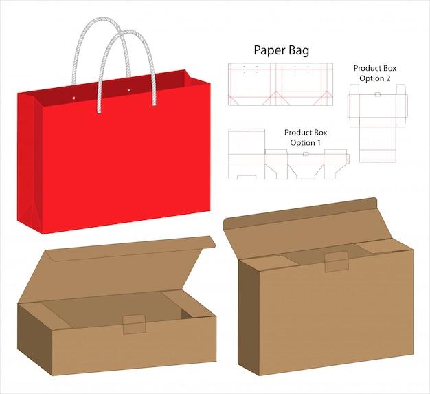 Modelo de corte de embalagem de caixa Vetor Premium