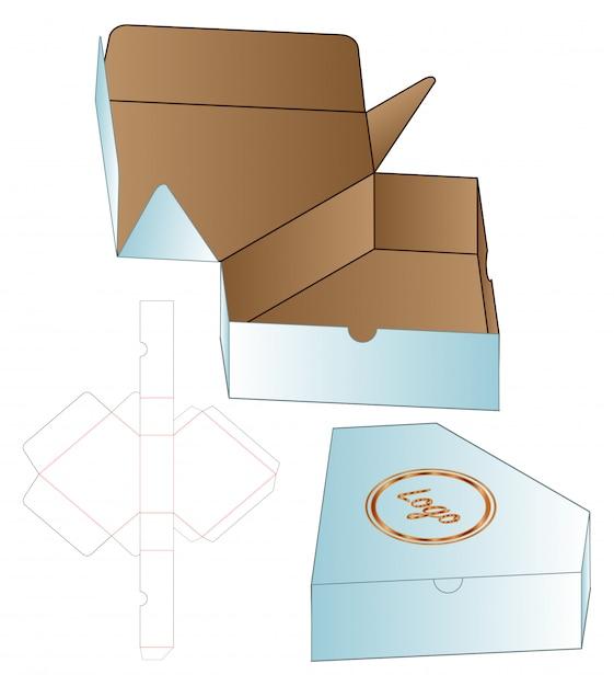 Modelo de corte e vinco de embalagem diamond box box Vetor Premium