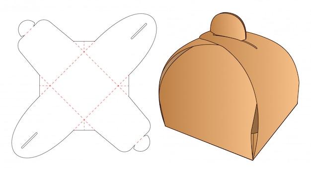 Modelo de corte e vinco de embalagens de caixa Vetor Premium