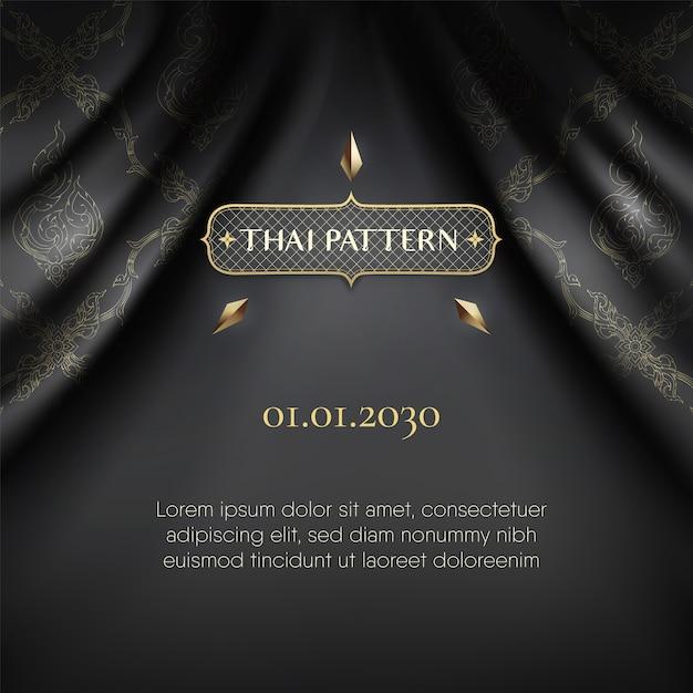 Modelo de cortina de onda rip tradicional padrão tailandês preto Vetor Premium