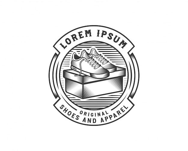 Modelo de crachá de logotipo de sapatilha de sapatos criativos Vetor Premium