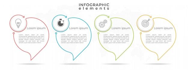 Modelo de cronograma infográfico com quatro opções ou etapas. Vetor Premium