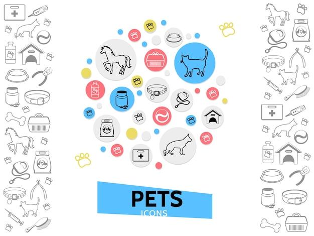 Modelo de cuidados com animais de estimação com coleiras para cães e gatos para alimentar o transportador de casinha de cachorro, pílulas para coleira, corta-unhas pente Vetor grátis