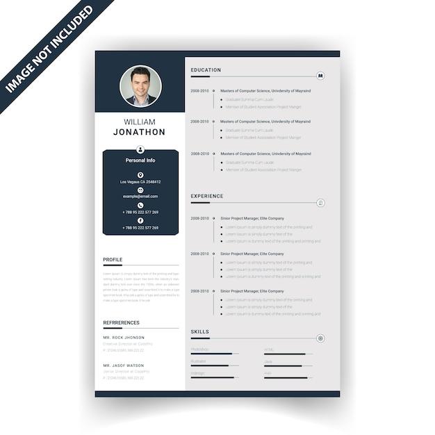 Modelo de currículo criativo Vetor Premium
