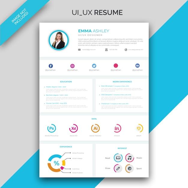 Modelo de currículo / cv de interface do usuário / ux Vetor Premium