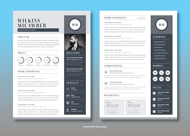 Modelo de currículo freelancer Vetor Premium