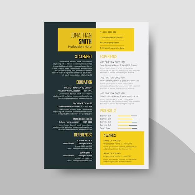 Modelo de currículo limpo com elementos de design escuro e amarelo Vetor Premium