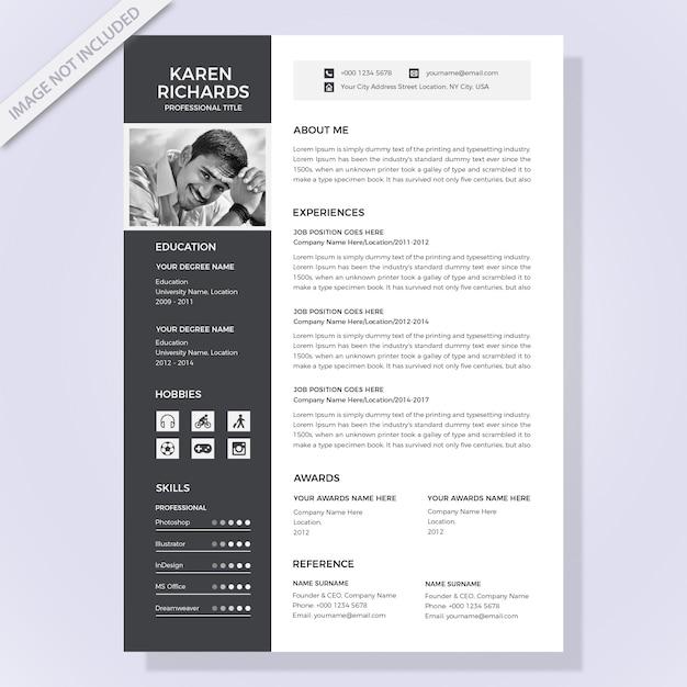 Modelo de currículo preto e branco Vetor Premium