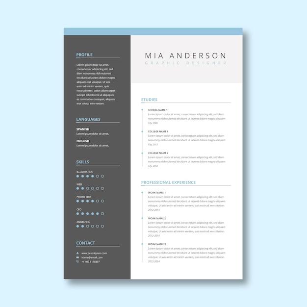Modelo de curriculum vitae cinza minimalista Vetor grátis