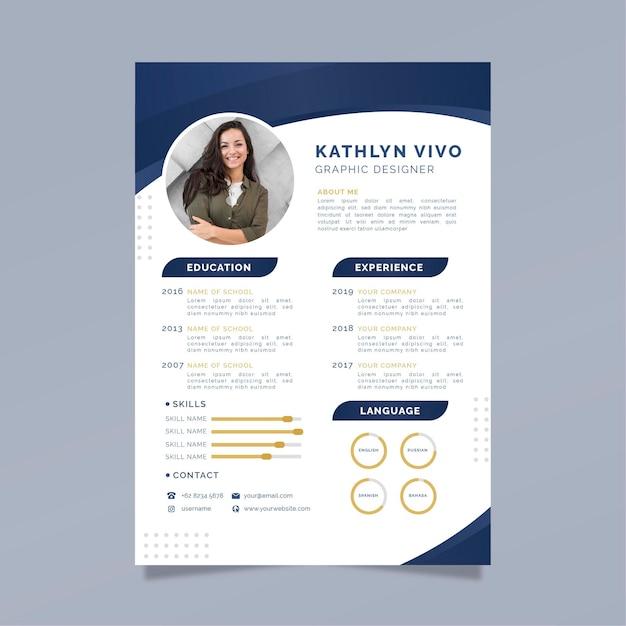 Modelo de curriculum vitae de negócios com foto Vetor Premium