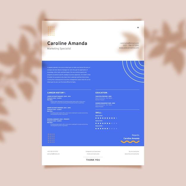 Modelo de cv minimalista Vetor grátis