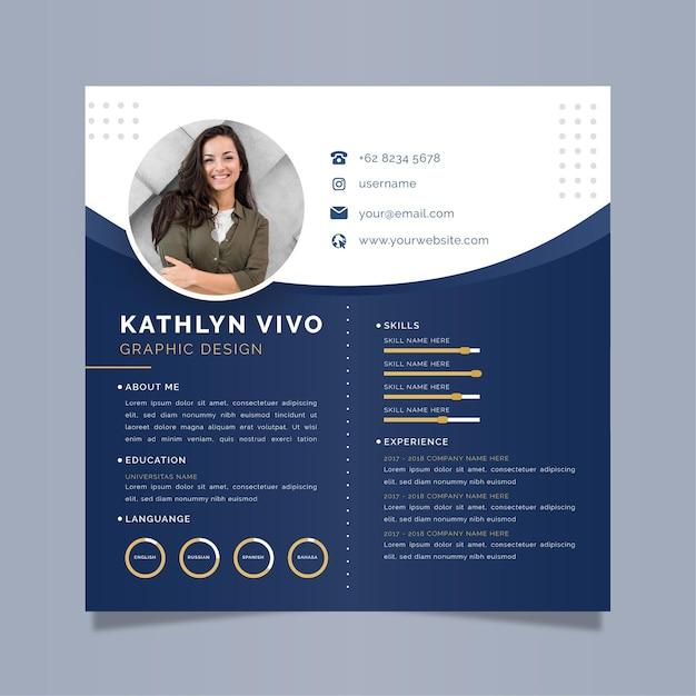 Modelo de cv online comercial com foto Vetor Premium