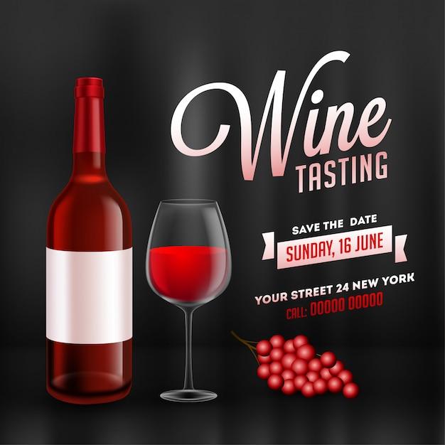 Modelo de degustação de vinhos ou projeto de cartão de promoção com realista garrafa de vinho e vidro de bebida no fundo preto brilhante. Vetor Premium