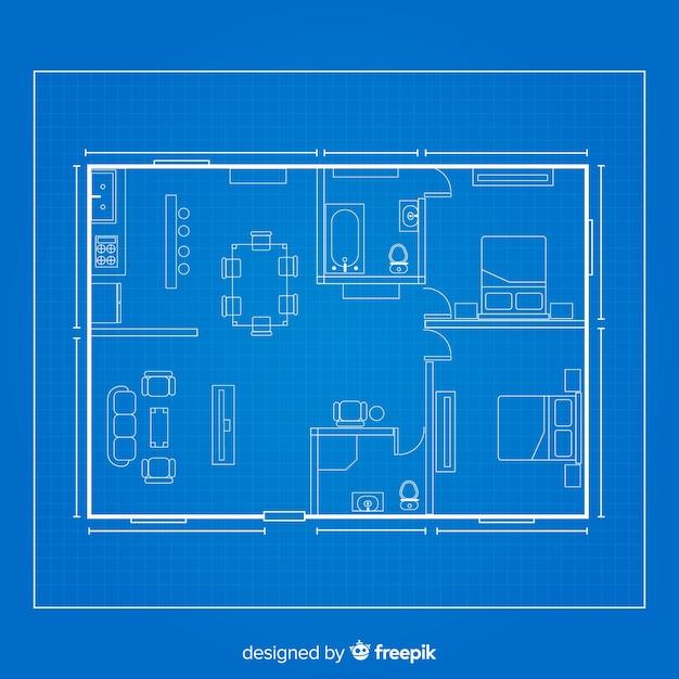 Modelo de desenho arquitetônico de casa Vetor grátis