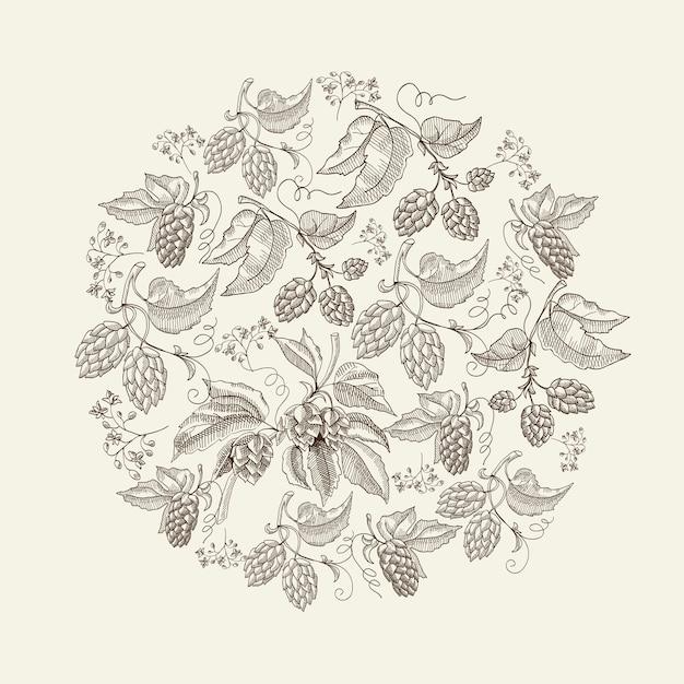 Modelo de desenho redondo natural abstrato com plantas de lúpulo de ervas orgânicas de cerveja na luz Vetor grátis