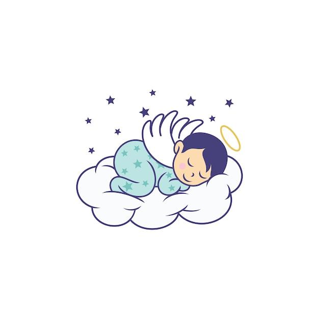 Modelo de desenhos de logotipo de bebê fofo dormindo Vetor Premium