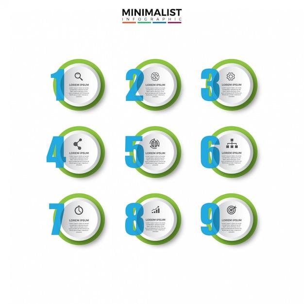 Modelo de design 3d infográfico com ícones Vetor Premium
