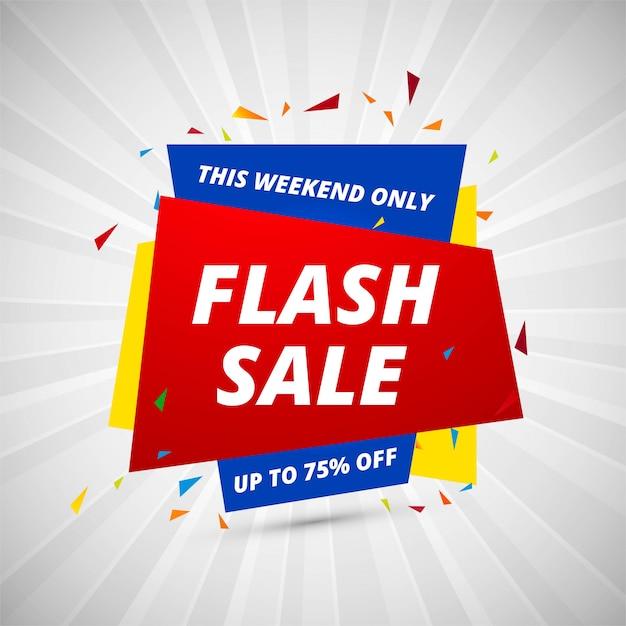 Modelo de design colorido de banner criativo de venda flash Vetor grátis