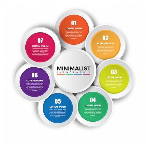 Modelo de design colorido infográfico circular. Vetor Premium