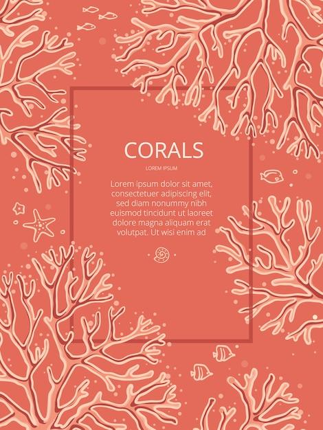 Modelo de design com corais desenhados à mão sobre um fundo coral com lugar para texto. os corais nesta ilustração são isolados. Vetor Premium