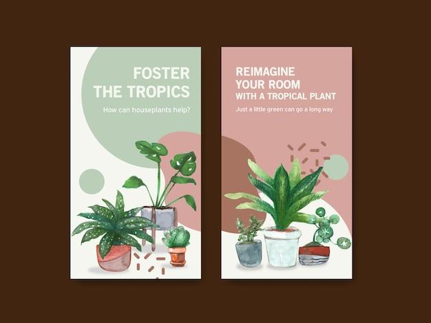 Modelo de design com plantas de verão e plantas da casa para a comunidade on-line e anunciar ilustração aquarela Vetor grátis