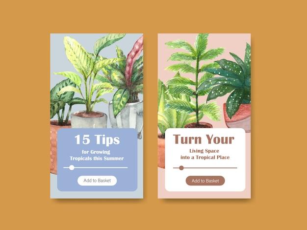 Modelo de design com plantas de verão e plantas da casa para mídias sociais, comunidade online, internet e anunciar ilustração aquarela Vetor grátis