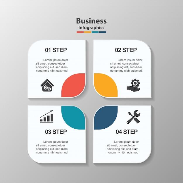 Modelo de design criativo infográfico, 4 caixas de texto do retângulo com pictogramas. Vetor Premium