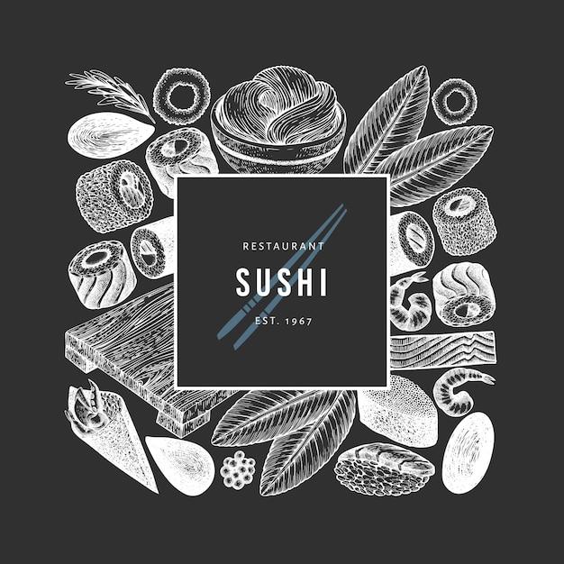 Modelo de design da culinária japonesa. sushi mão desenhada ilustração vetorial no quadro de giz. fundo de comida asiática estilo retro. Vetor Premium