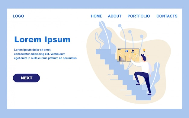 Modelo de design da página inicial para o projeto de negócios Vetor Premium