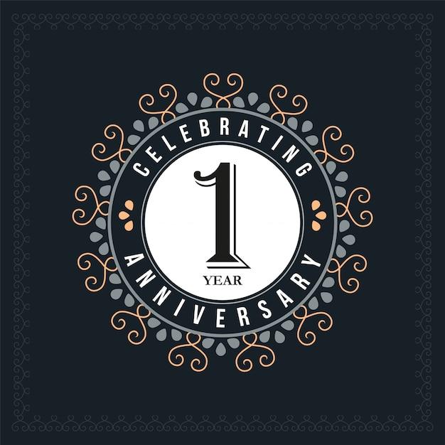 Modelo de design de aniversário de 1 ano Vetor Premium