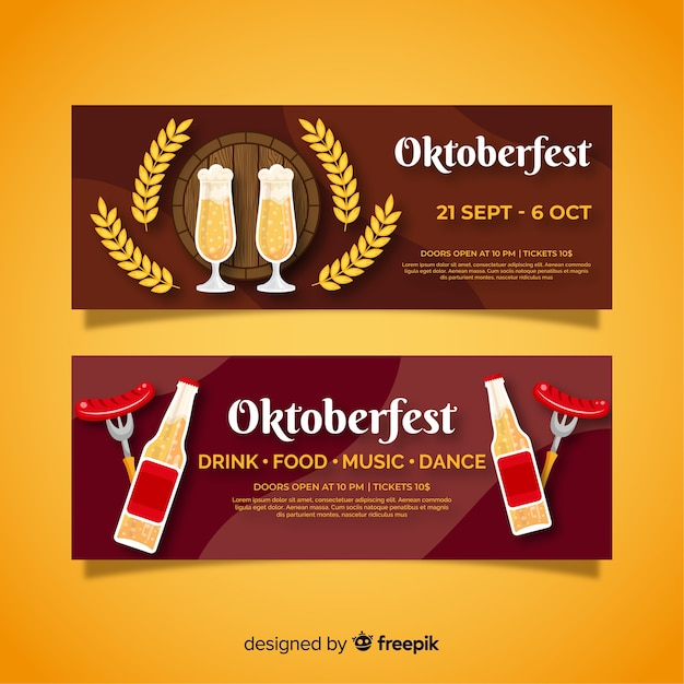 Modelo de design de bandeiras oktoberfest design plano Vetor grátis