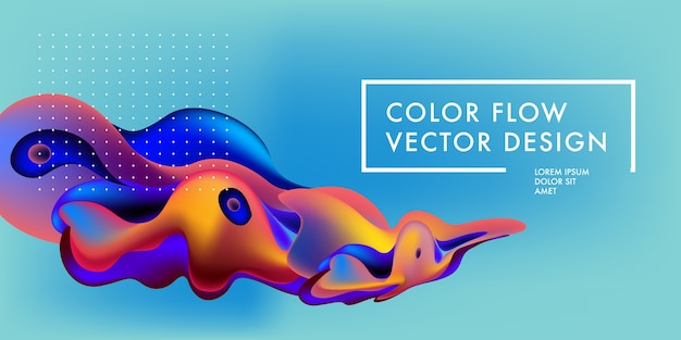 Modelo de design de banner colorido abstrato líquido e fluxo Vetor Premium