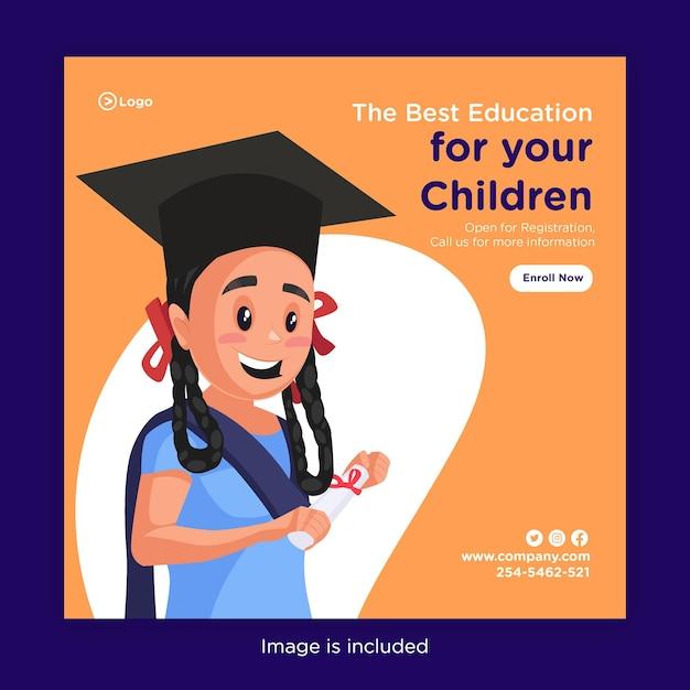Modelo de design de banner da melhor educação para seus filhos Vetor Premium