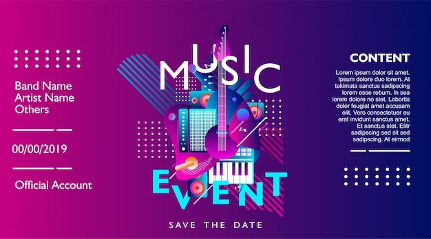 Modelo de design de banner de evento de música para o festival, concerto e festa. Vetor Premium