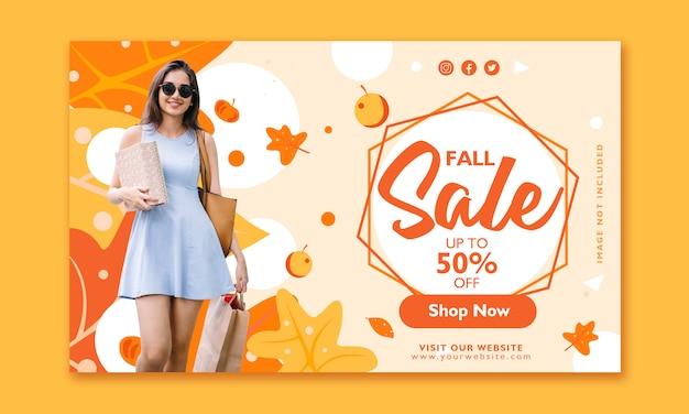 Modelo de design de banner de venda de outono Vetor Premium