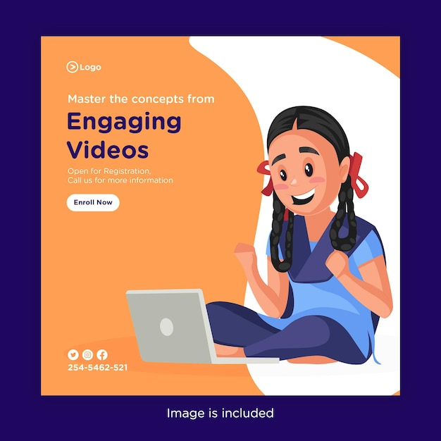 Modelo de design de banner para dominar os conceitos de vídeos envolventes Vetor Premium