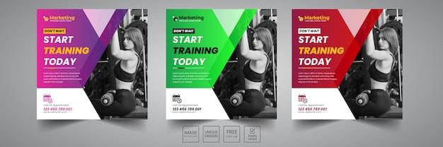 Modelo de design de banner social de ginásio Vetor Premium