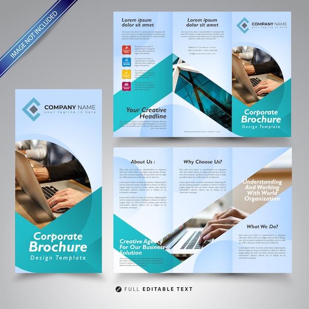 Modelo de design de brochura com três dobras Vetor Premium